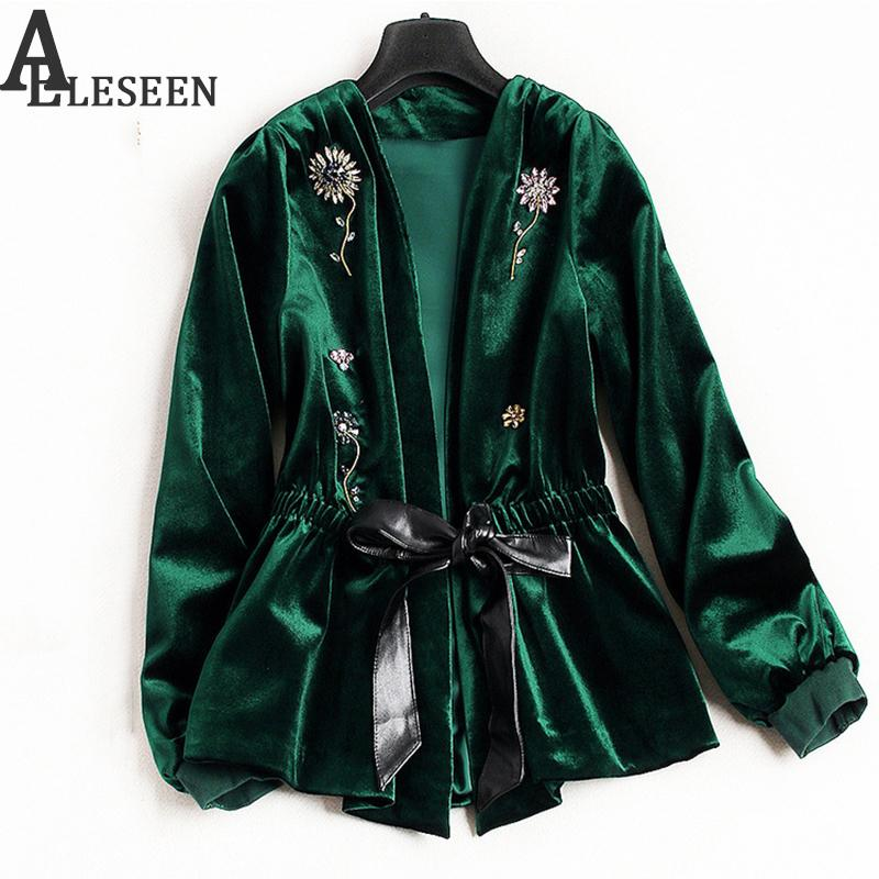 UK Winter New Style Beading Luxury Cardigan Jackets 2018 Long Sleeve Green / Black Spring Flower Velvet Beaded Jacket Women S18101102
