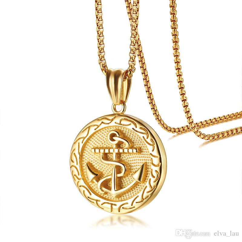 2a793550236 Wholesale Punk Mens Anchor Pendant Necklace Gold Color Stainless Steel  Necklaces With Box Chain 24 Erkek Kolye Male Rock Jewelry Silver Locket  Mens Pendants ...