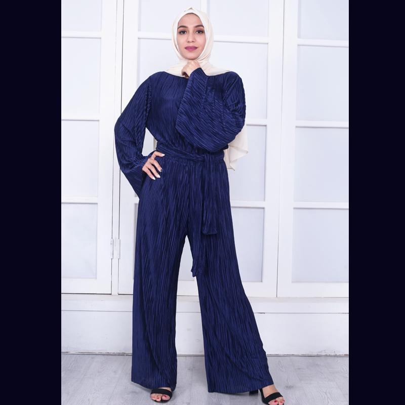 Plus Size 2018 Abaya African Kimonos Muslim Bell Maxi Pleated Wide Leg Rompers Womens Jumpsuit Dubai Turkish Islamic Clothing