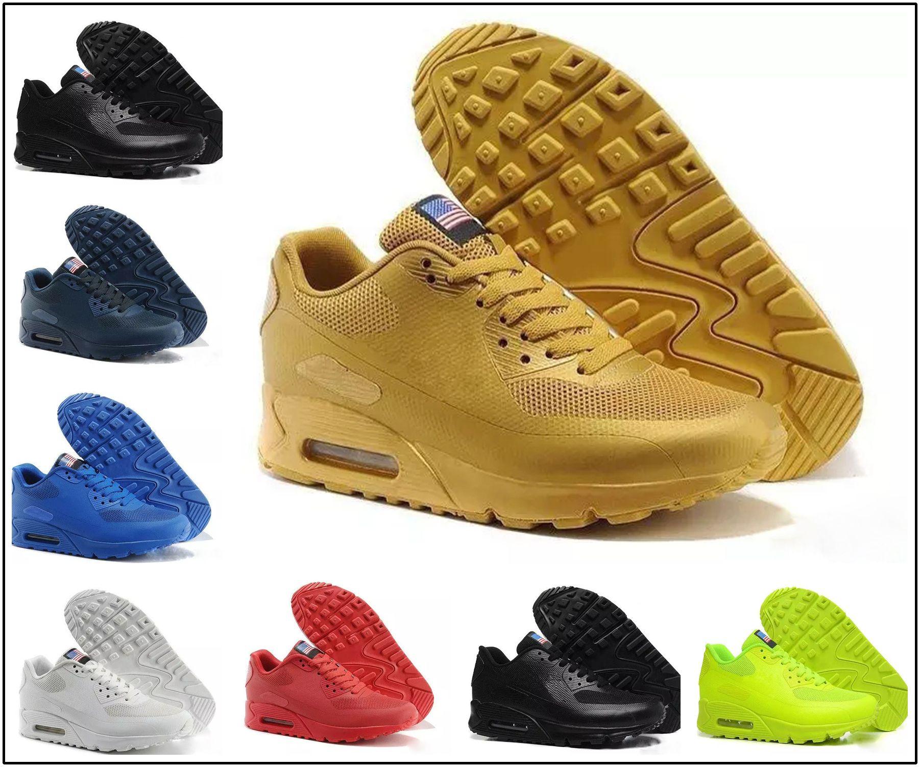 wholesale dealer 55c09 b90a4 Großhandel Nike Air Max 90 HYP PRM QS Günstige Alr 90 HYP PRM QS Herren  Damen Laufschuhe Alr 90s Amerikanische Flagge Schwarz Weiß Marineblau Gold  Silber ...