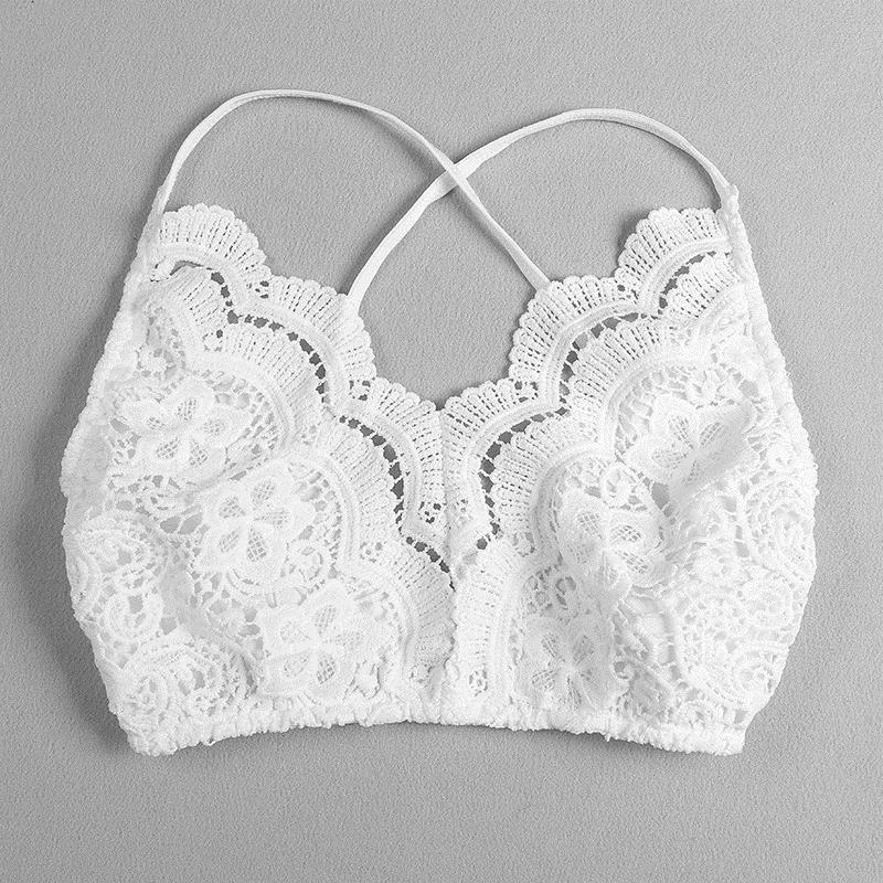 ee90c960ee2 2019 2019 Fashion Women Lace Crochet Strap Bustier White Sexy Lady Camisole  Summer Bralettes Cross Back Strap Cami Crop Top From Stephanie02, ...