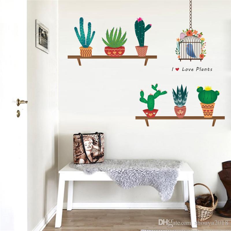 garden plant flying birds birdcage wall sticker home decoration