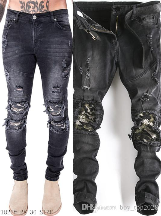 Top 2018 moto hommes jeans mince trou mode qualité camouflage couleur motard jeans slim jeans droit
