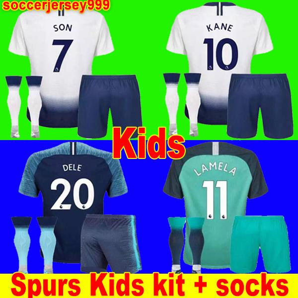 0e44cbea0 Thailand Spurs KANE soccer jersey kids kit 2018 2019 LAMELA ERIKSEN DELE  SON jerseys 18 19 Football shirt uniforms CAMISETAS DE FUTBOL third