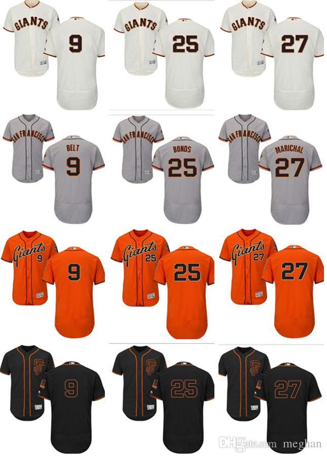 ffa7f1c5ff2 2019 Custom Men Women Youth Majestic SF Giants Jersey  27 Juan Marichal 25 Barry  Bonds 9 Brandon Belt Home Black Orange Baseball Jerseys From Lauer