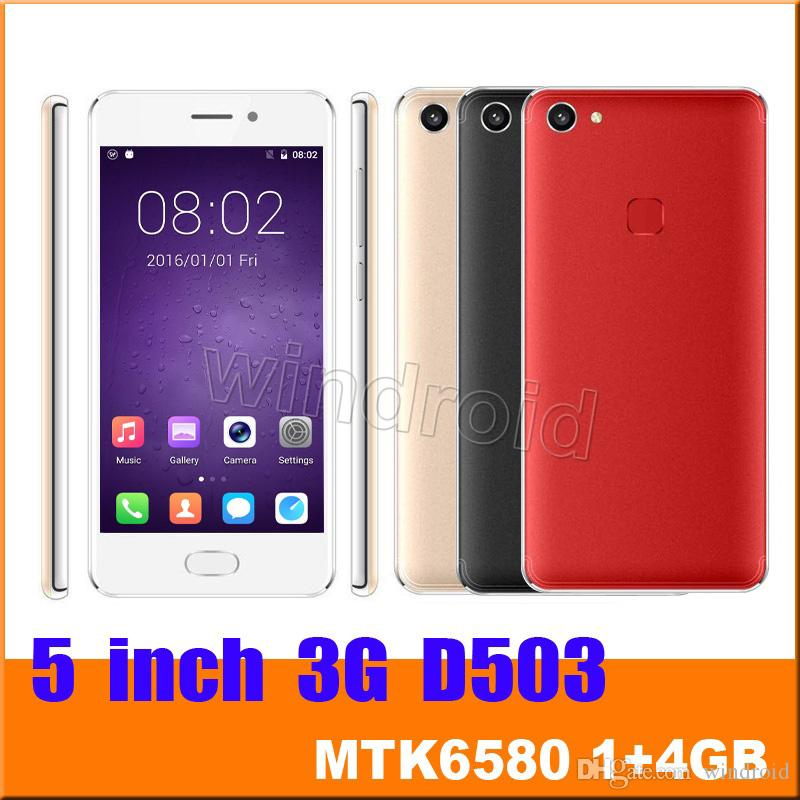 5 Inch Android 6.0 Quad Core 3G Smart Phone WCDMA Unlocked GPS MTK6580 1G 4GB Dual SIM Wifi 854*480 Screen Mobile cell phone D503 30pcs