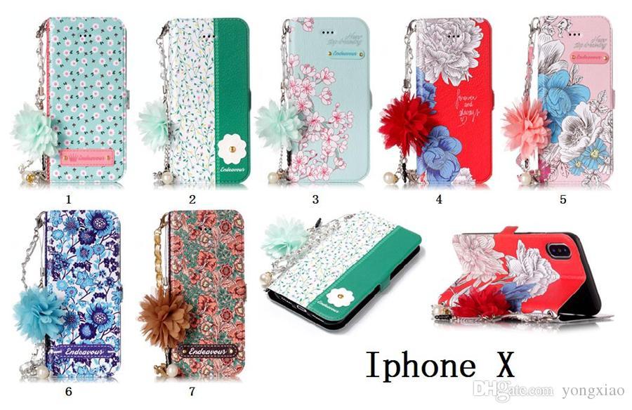 Para iphone x 6 7 8 s8 edge s8 s6 edge case carteira com alça de cadeia de pérola mulheres casos de telefone menina