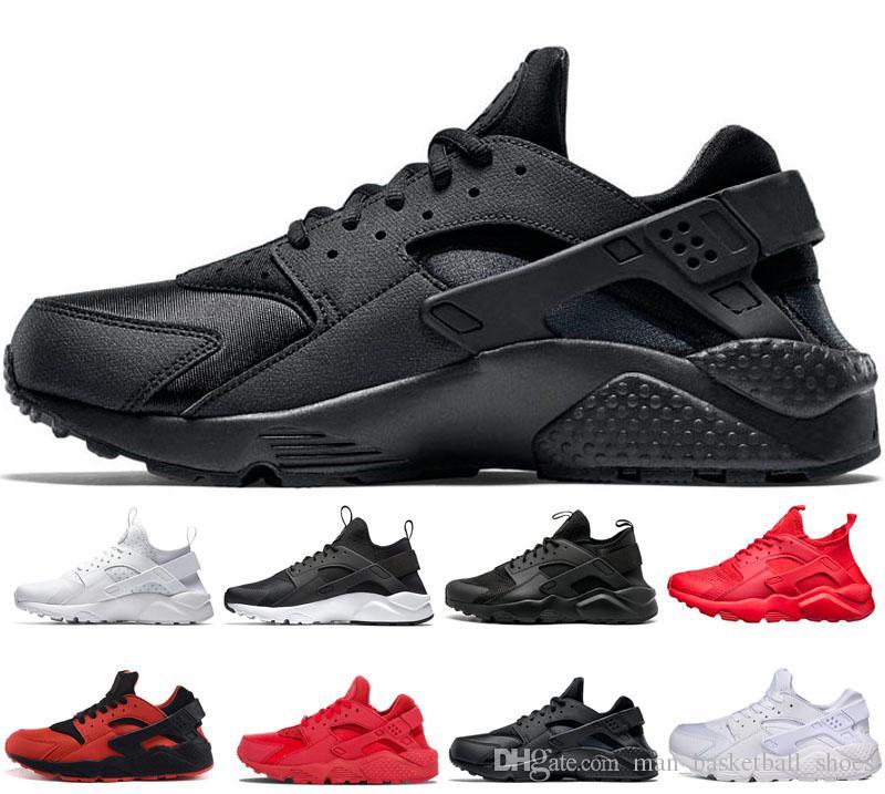 Venta caliente Huarache 1.0 4.0 zapatillas deportivas Zapatillas deportivas blanco gris rojo triple para hombre zapatos de diseño de las mujeres