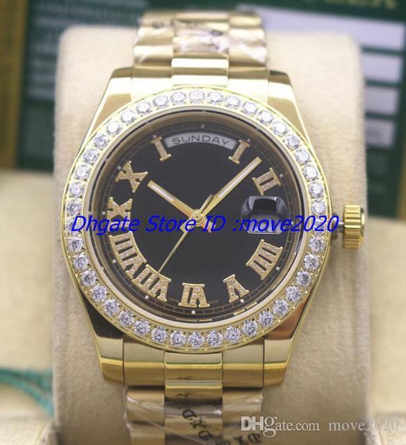 Novos relógios 18k ouro amarelo mostrador preto 41 mm Presidente Dia-data 18038 pequenos diamantes bisel homens mecânicos relógios
