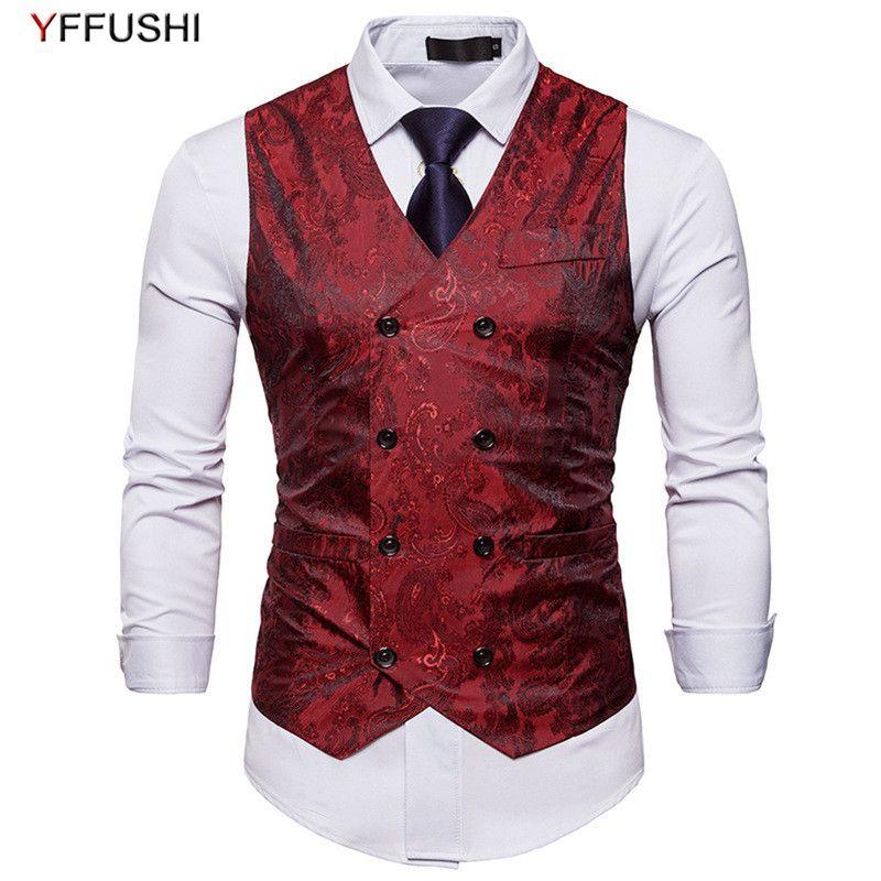 Casual Slim Men Fit Breasted Jacquard 2018 Vest 8 Style Yffushi Buttons 6 Fashion Stylish Double Colors Design Ib6gf7vYym