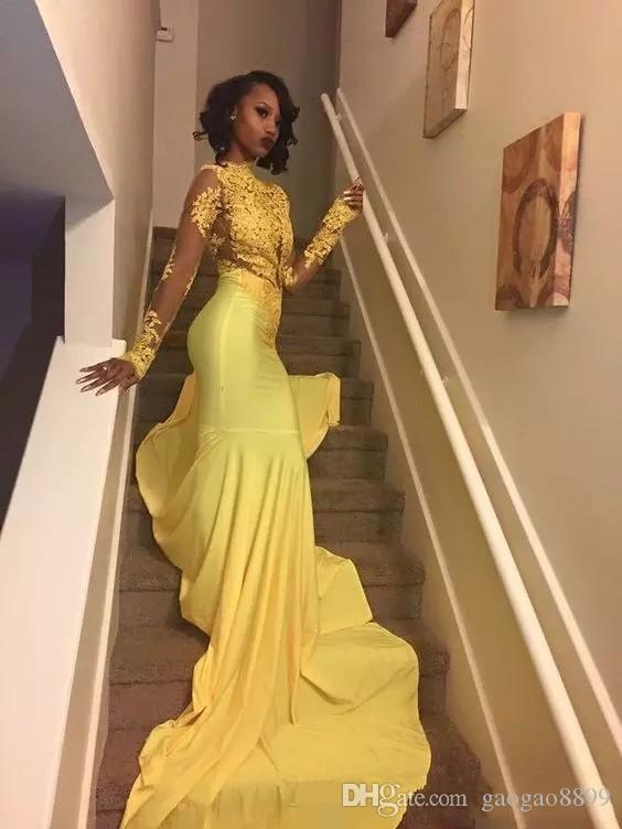 African Black Girls Yellow Mermaid 2k18 Vestidos de baile de manga larga Satén de tul Apliques de encaje Vestidos de fiesta formales de fiesta