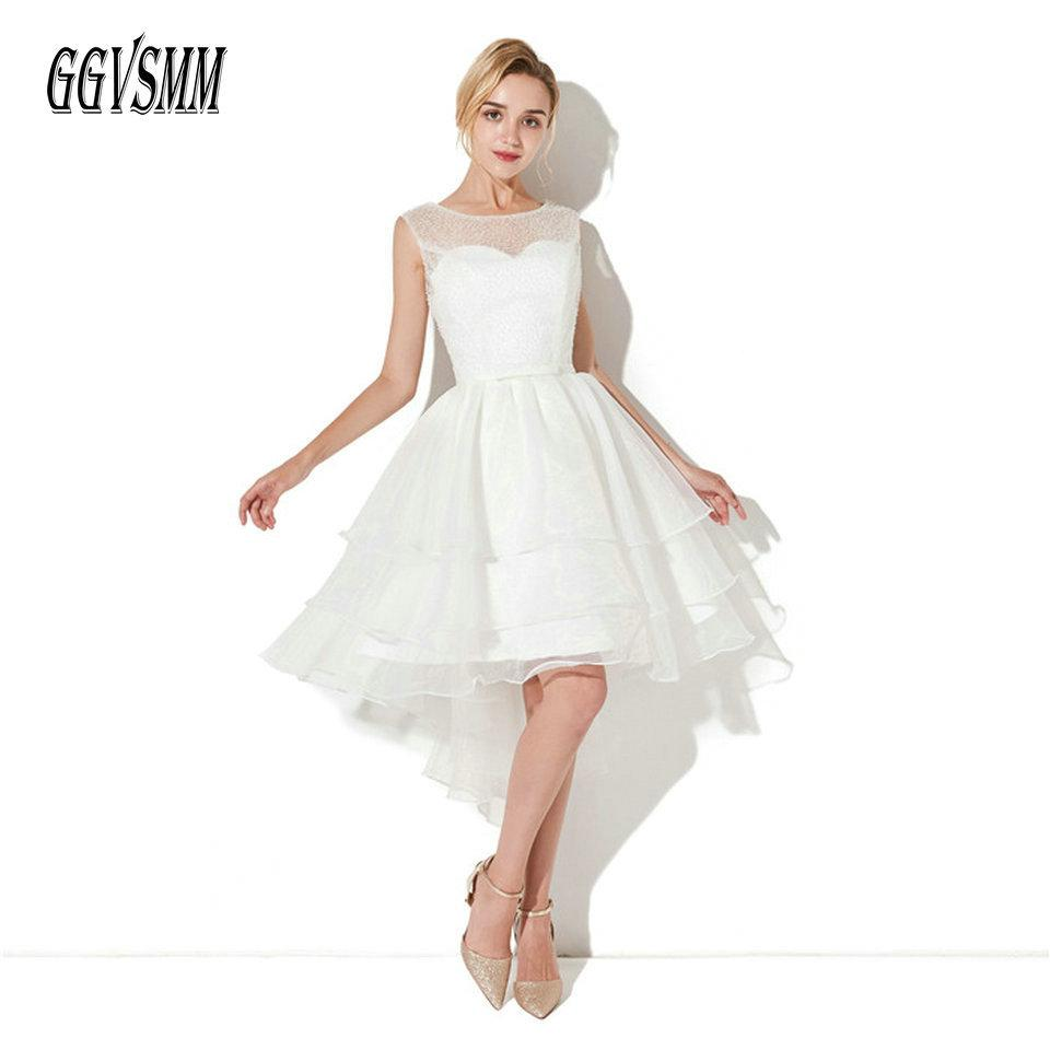 28ee78ada2 2019 Sexy White Short Prom Dresses 2018 Cheap Prom Dress Scoop Ivory  Organza Beading Lace Up Knee Length Women Party Gowns Evening C18111601  From Linmei0005 ...