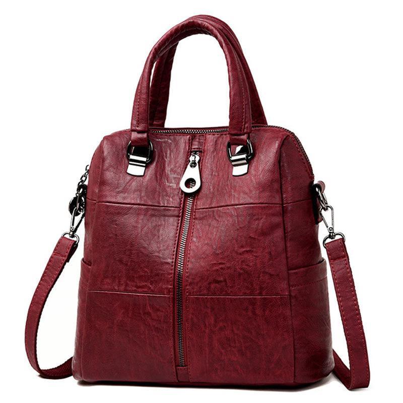 17a4c13b67 3 In 1 Women Leather Backpacks Vintage Female Shoulder Bag Sac A Dos Travel  Ladies Bagpack Mochilas School Bags For Girls Preppy Dakine Backpacks Back  Pack ...