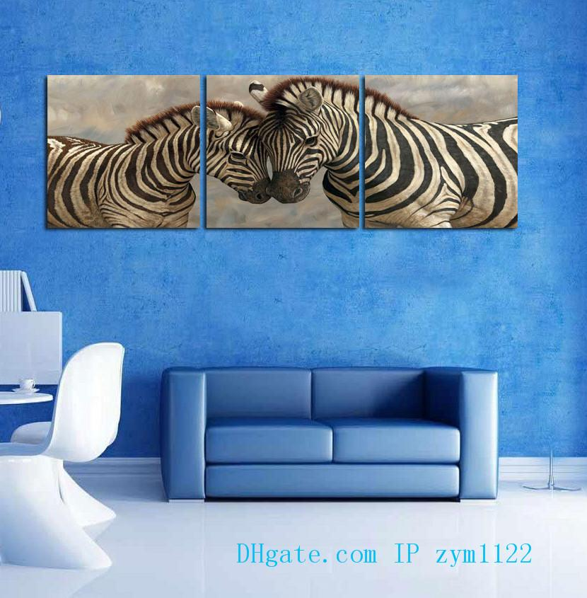 Animal Couples zebra 3 Pieces Home Decor HD Printed Modern Art Painting on Canvas (Unframed/Framed)
