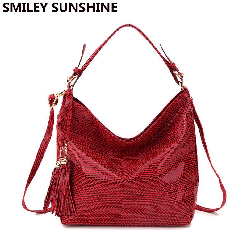 8aca1c88d6 SMILEY SUNSHINE Snake Leather Women Big Shoulder Bag Female Serpentine  Pattern Hobos Bag With Tassel Women Handbag Red Tote New Womens Wallets  Handbags ...
