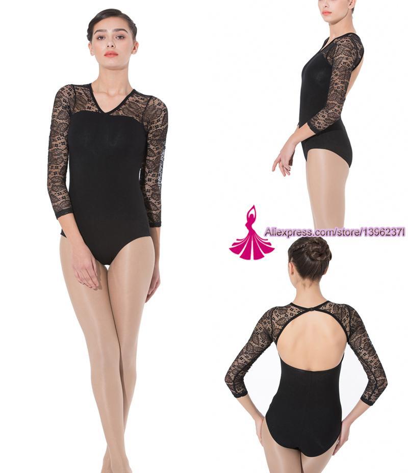 56e5b0481c05 Gymnastics Leotard Women 2018 New High Quality Lace Long Sleeve ...