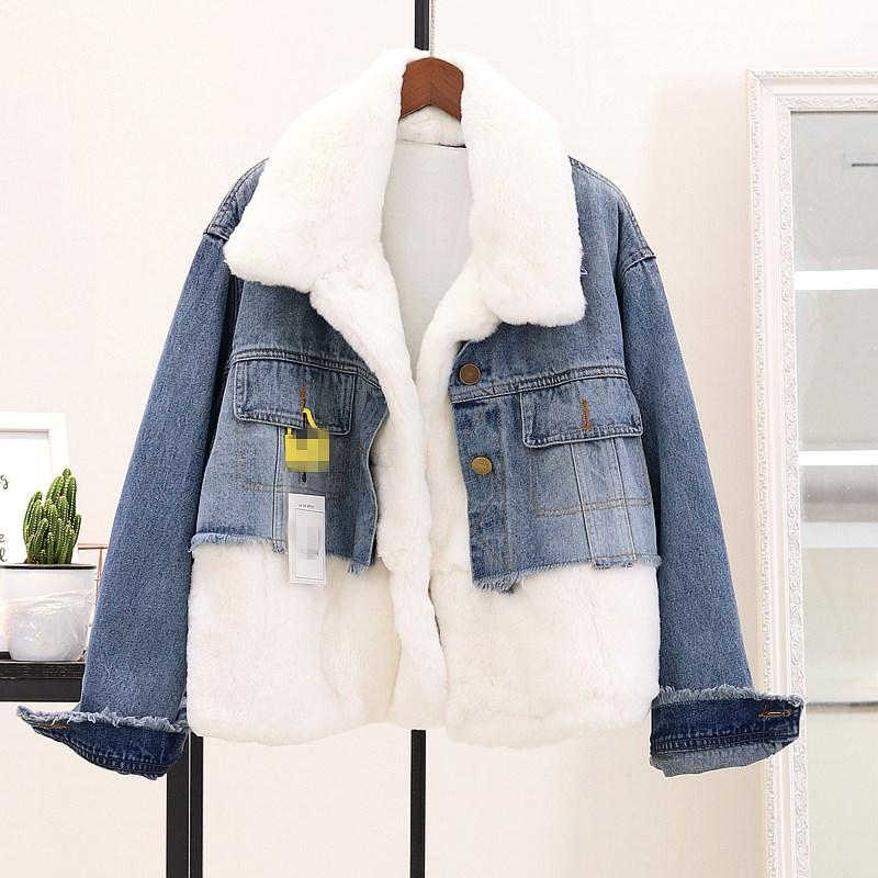 1b2e2c747 Compre Mulheres De Inverno Faux Fur Jacket Turn Down Collar Moda Manga  Longa Emendado Casaco Parka Mulheres Soltas Denim Jaqueta Streetwear De  Candice98