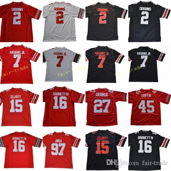 best service 5b00b b5178 2 JK Dobbins Jersey 7 Dwayne Haskins Jr. 97 Nick Bosa 15 Ezekiel Elliott 27  Eddie George Ohio State Buckeyes Jersey Red White Black