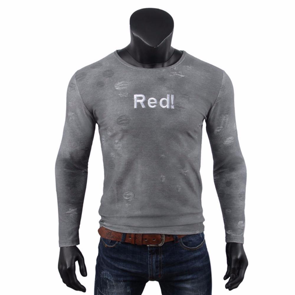 15078e95af Compre Daddy Chen 2018 Camiseta Hombre Manga Larga Camiseta Hombre Color  Puro Rojo Casual Hombres Camiseta Manga Larga Hombre Otoño Tops Camisas A   18.69 ...