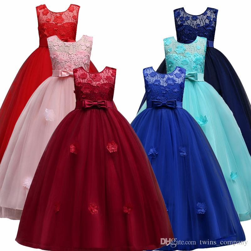 a5c06edb83254 Satın Al Çocuklar Için Dantel Prenses Kız Elbise Düğün Doğum Günü Partisi  Genç Kız Çocuklar Akşam Balo Elbiseler Kızlar Için 4 14 T, $23.12 |  DHgate.Com'da