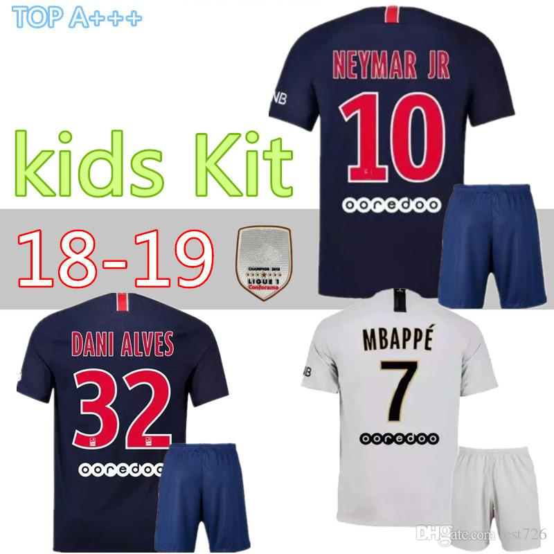 373856b13 2019 18 19 Psg Kids Kit Maillot MBAPPE Soccer Jersey 2018 2019 Home Blue  Away White CAVANI Paris Saint Germain Child Football Jersey Kit From  Cst726