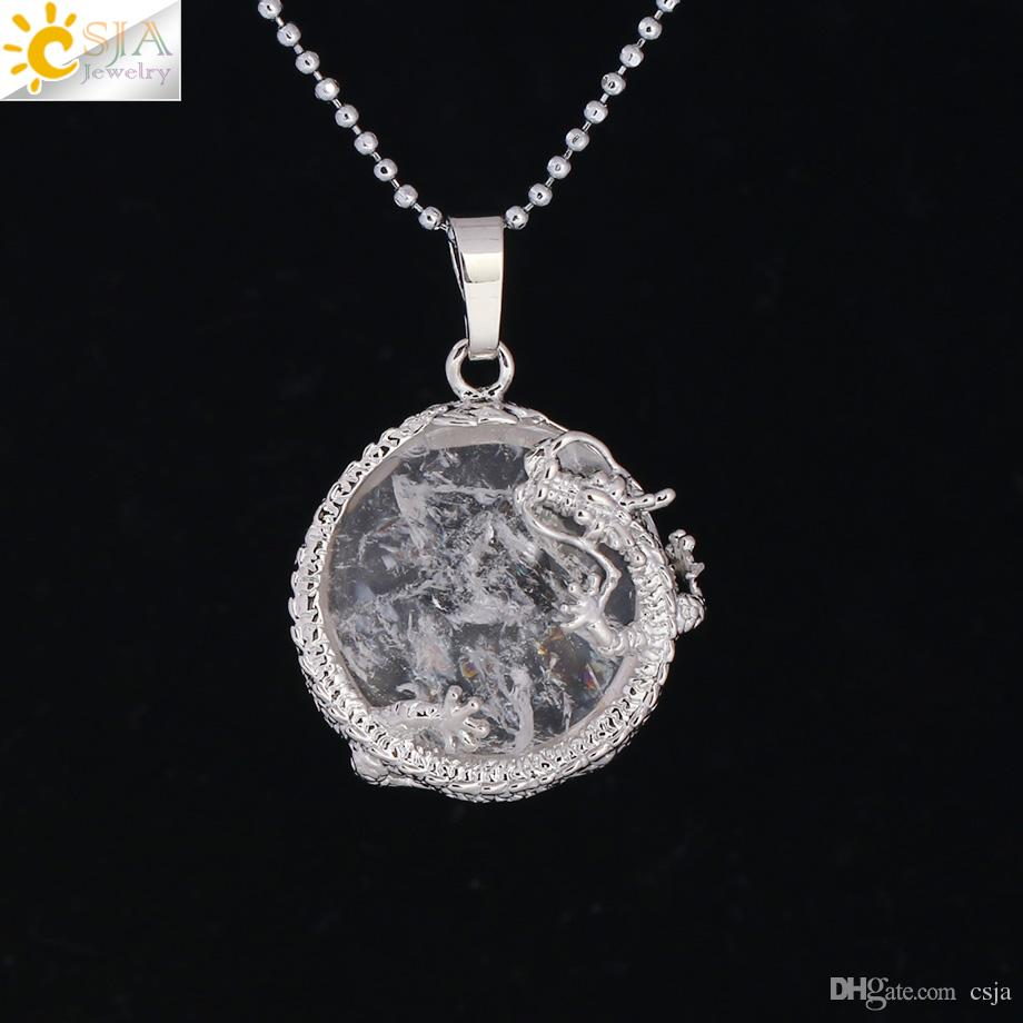 CSJA Chinese Dragon Stone Rock Necklace Natural Gemstone Pendant White Crystal Tiger Eyes Flat Round Beads Silver Color Lucky Jewelry F304 B
