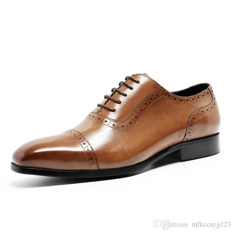 Men's Shoes Provided Us 6-10 High-end Mens Genuine Leather Oxfords British Style Man Formal Dress Wedding Shoes Elegant Lace Up Leather Shoes Jade White Shoes