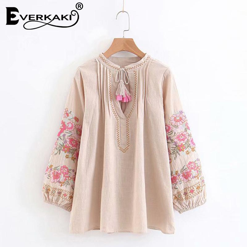 a1f9d062bc9 2019 Everkaki Women Boho Embroidery Cotton And Linen Tops Blouse Shirts  Tassel Loose Bohemian Lady Blouses Top Female 2018 Summer New From  Carawayo