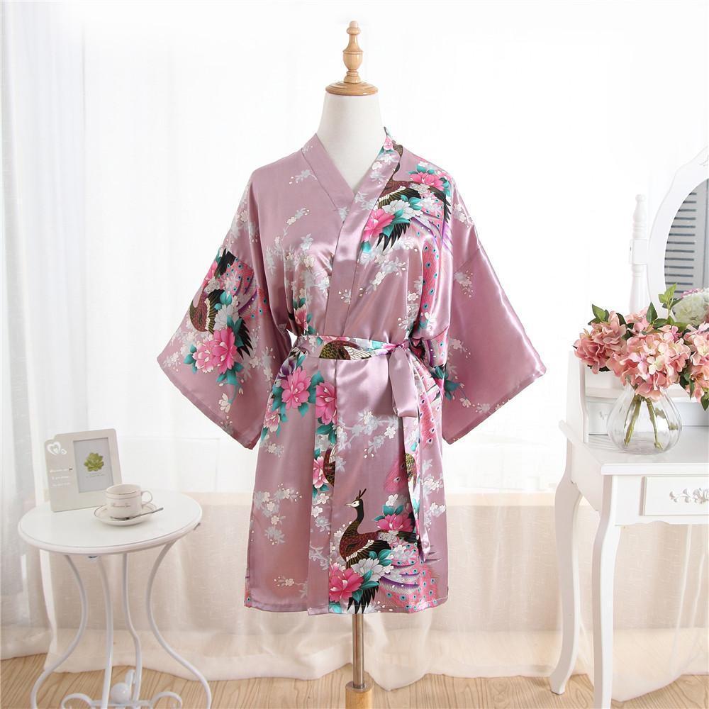 c2480703383df New Women Satin Short Nightgown Kimono Robe Bathrobe Floral Pajamas Wedding  Bride Bridesmaid Sexy Dress Gown One Size Plus Size