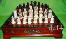 decoration brass factory Pure Brass Antique Chinese Qing Character chess set & Leather Wood Box Flower Bird Table