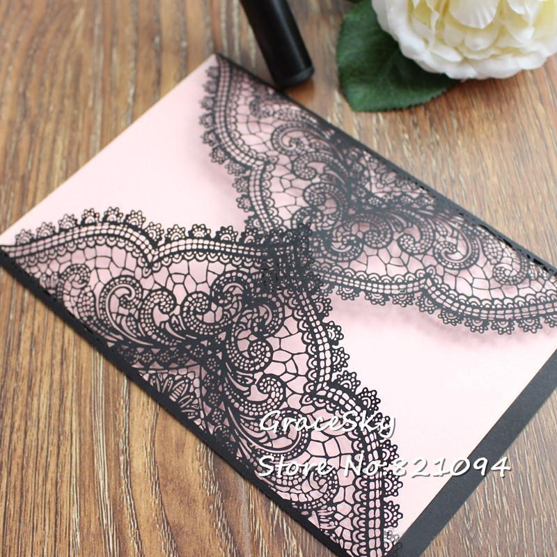Laser Cut Birthday Wedding Invitations Cards European Style Lace Design With Text Customized, Gold White Black Purple And Silver Wedding Invitations Red And ...