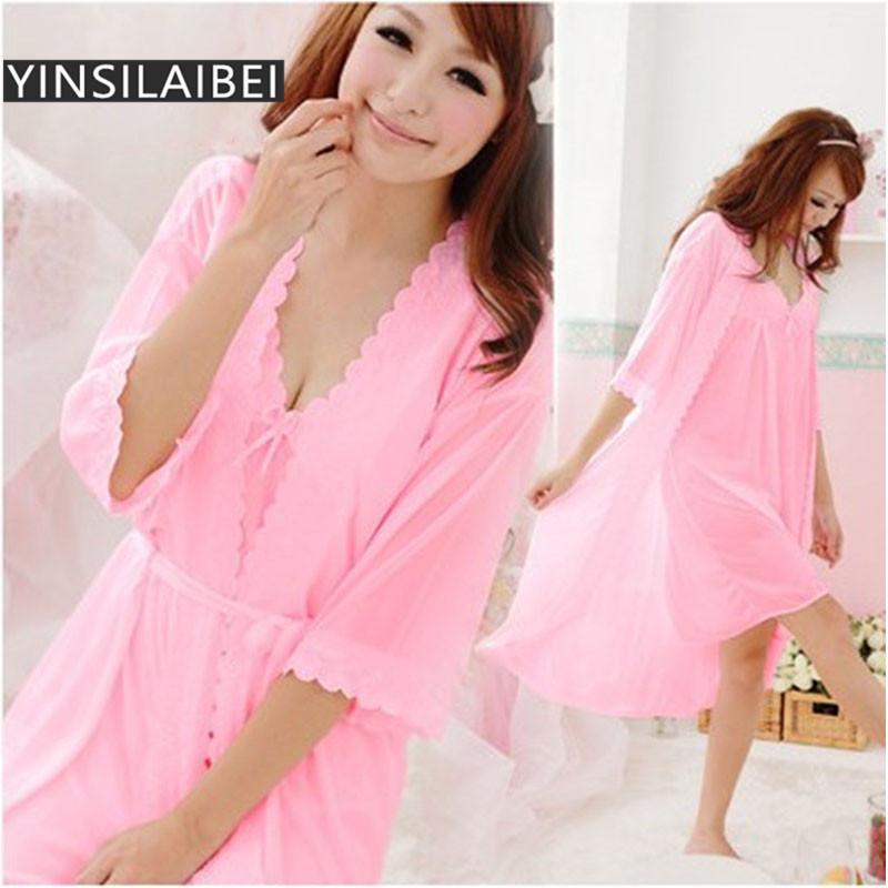 d86baf19a3 2019 Women Nightwear Sleepwear Sexy Ice Silk Satin Nightgowns Sexy Night  Sleeping Dress Night Gown Ladies Nighties SR002 35 From Berniee
