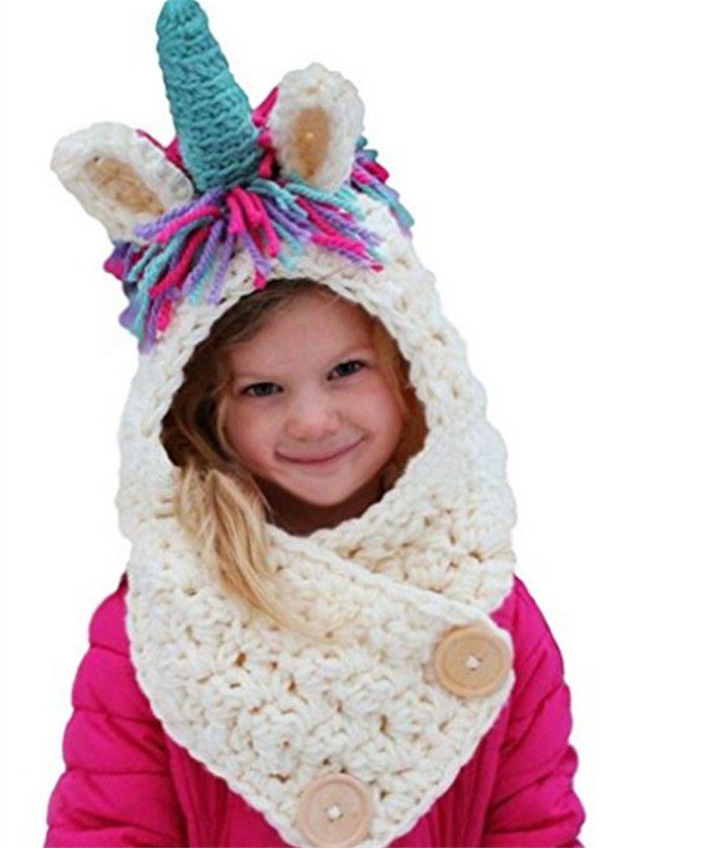 Compre Corte El Bebé De Punto Sombreros Unicornio Con Bufanda Set ...