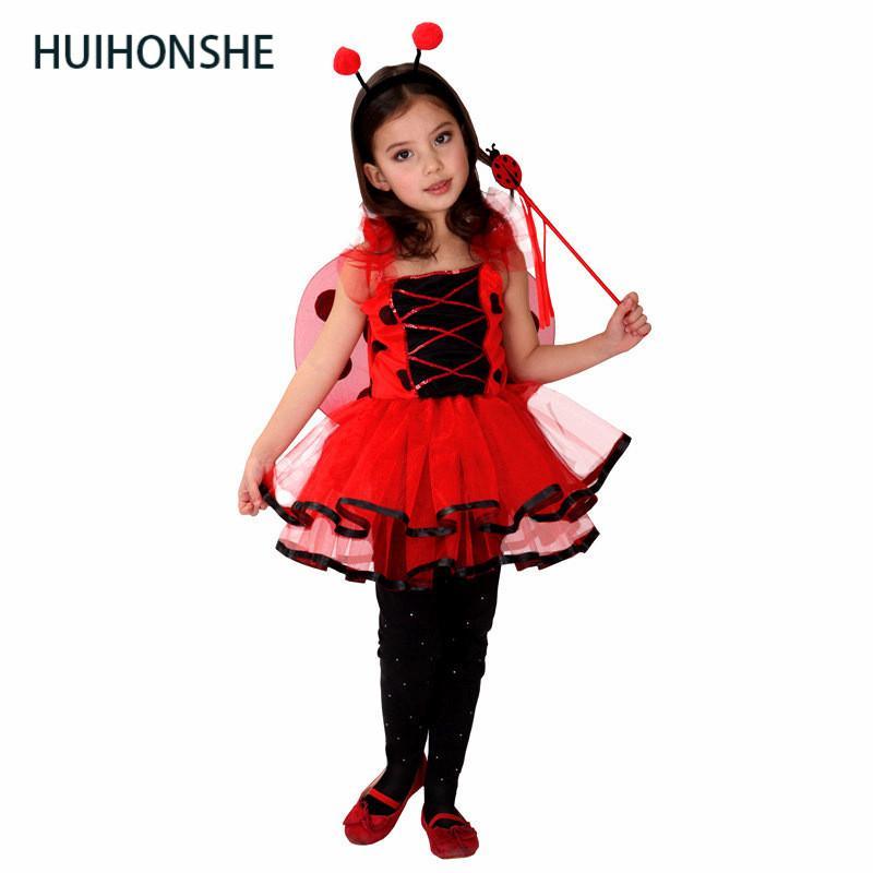 32d527de4 Compre Bonito Traje Fantasia Meninas Halloween Cosplay Crianças Kit  Vermelho Princesa Dança Saia Joaninha Crianças Vestido De Festa Conjunto De  Kennethy