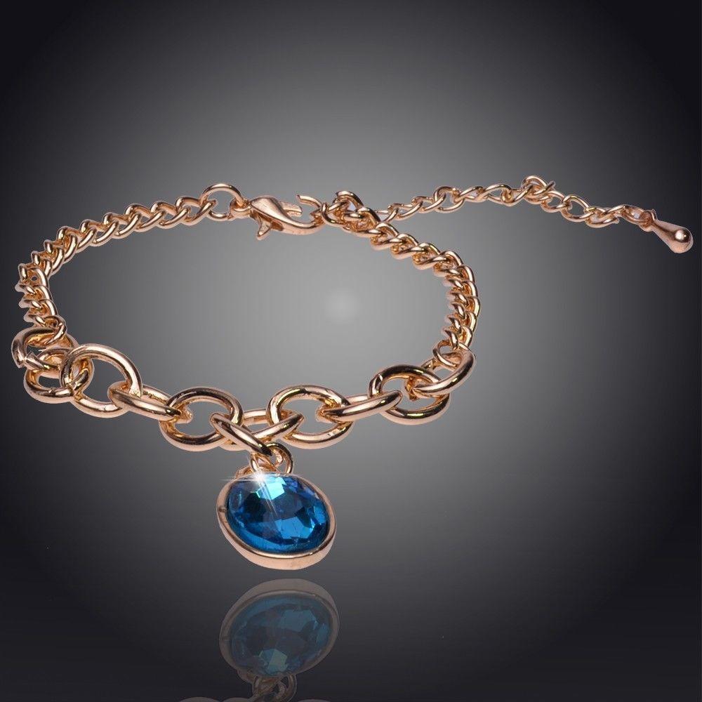 Women 14K Yellow Gold Filled Blue Austrian Crystal Oval Bracelet & Bangle