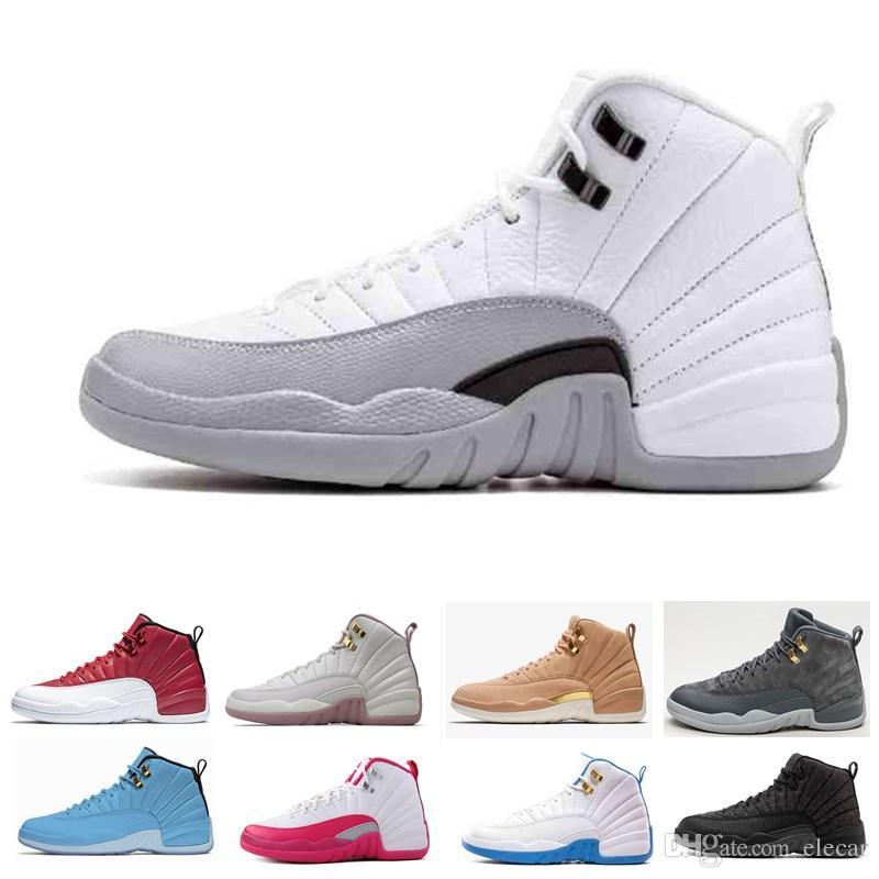 b8ad17847de50 Acheter 2018 Top 12 Chaussures De Basket Ball Coupe Haute Pour Hommes 12s  Blanc Noir Loup Gris Barons Bottes De Daim Bleu Homme Basket Ball Taille  Us7 13 De ...