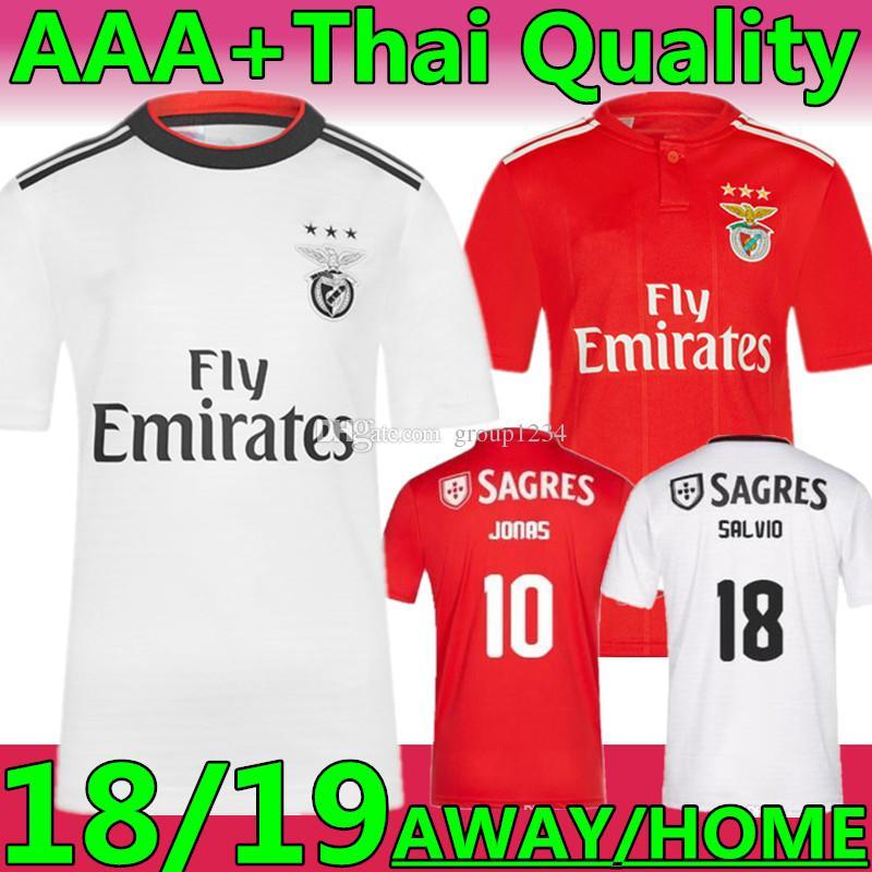 46cddd566 New Thai Top Quality 2019 Benfica 10 Jonas  18 SALVIO AWAY Soccer Jerseys 18  19 RED GABRIEL KALAICA ZIVKOVIC ELISEU Home Football Uniforms Benfica Jersey  ...