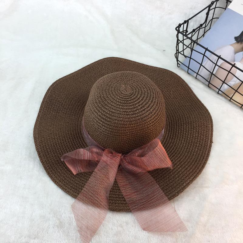 1b17888e Fashion Summer Weaving Straw Hat Plain Lace Bow Women Sun Hat Foldable Large  Brim Sunbonnet Vacation Beach UV Protection Hats Womens Hats Hats For Women  ...