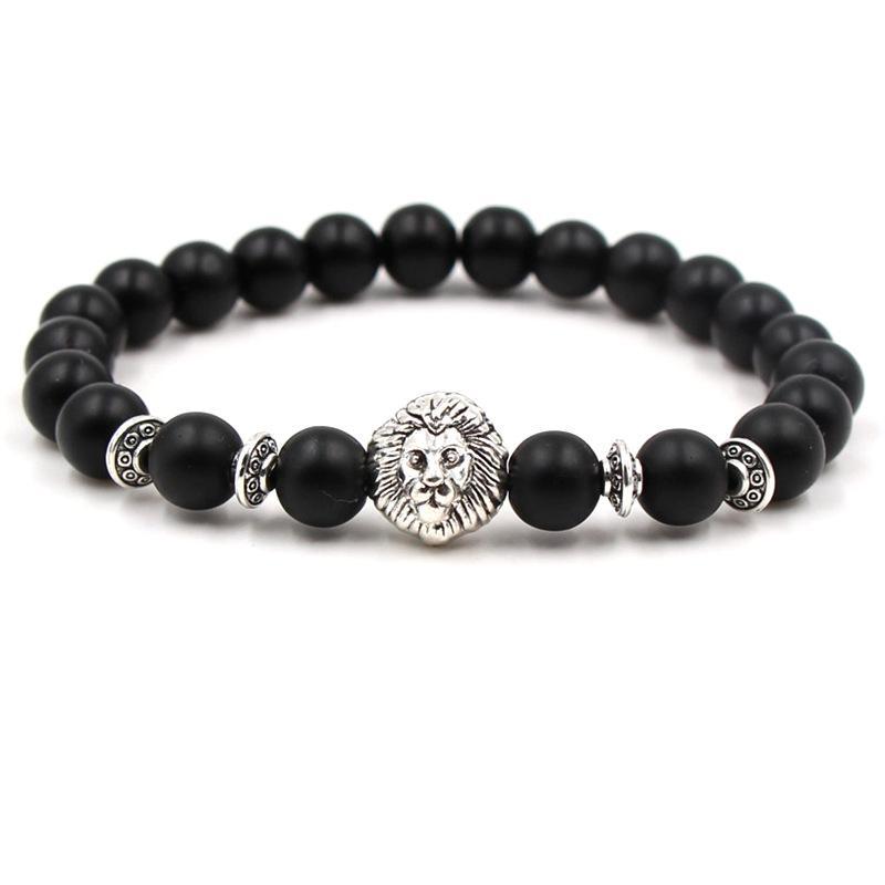 Schwarz weiß matt stein armband legierung lion helm gold silber armband yoga armreifen für unisex geschenk