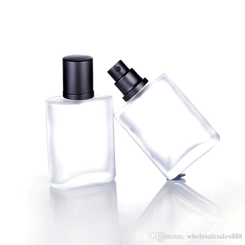 30 ml 50 adet Gümüş Gri Kap Düz Stil Buzlu Yarı Temizle Cam Sprey Parfüm Şişesi Cam Automizer Sprey Şişe