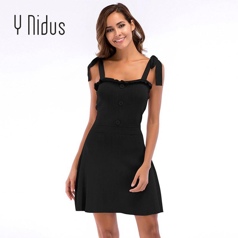 6be0ec62279 Y Nidus Women S Dress Summer 2018 Mini Sundress Knitted Off Shoulder  Sleeveless Strip Tape Dresses