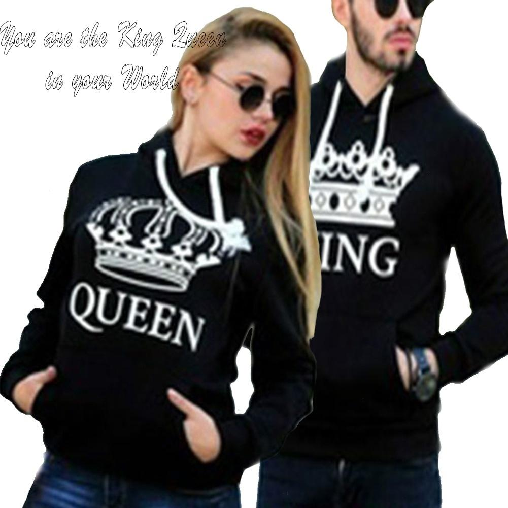 2018 King And Queen Hoodies Valentine Day Matching Cute Love Couples Crown  Print Pullovers Sweatshirt From Clemmenttt, $11.06 | Dhgate.Com