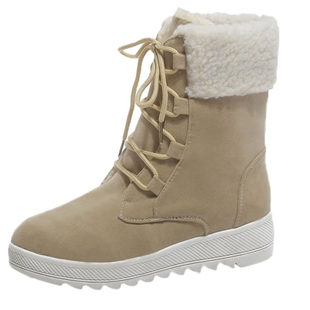 8029e4dd409c Großhandel MUQGEW Mode Schnee Stiefel Lace Up Frauen Winter Flache Neue  2019 Weibliche Lässig Rutschfeste Pelz Plüsch Einlegesohle Heiße  Winterschuhe Schuhe ...