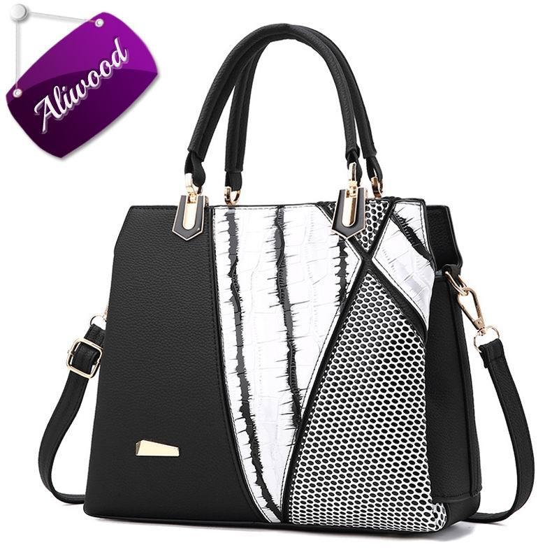 d3dc96f0f1d8 Aliwood Brands Designer Women bag Patchwork Striped tote bag Alligator  Crocodile Leather Handbags Casual Female Crossbody Bags