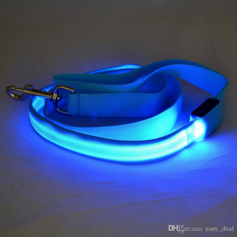 120 cm de color Perro de nylon para mascotas Led intermitente Correa Noche Ilumina la cuerda de seguridad para perros medianos grandes ZA6109