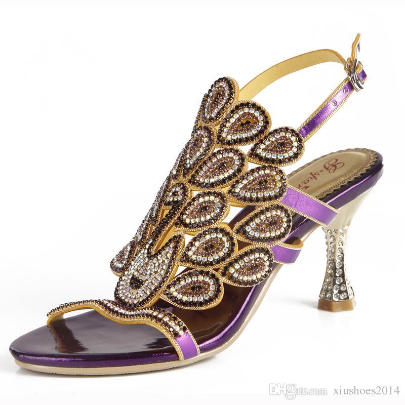 Schöne lila Strass Damen Sandalen Chunky Heel 3 Zoll Bequeme Hochzeit Brautschuhe Mutter der Braut Schuhe