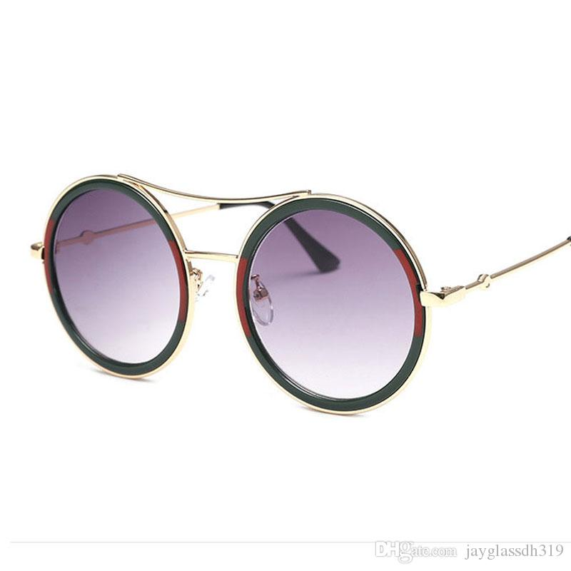 7d3b1f391e Compre 2018 Gafas De Sol Redondas De Alta Calidad Mujeres Diseñador De La  Marca Vintage Retro Marco Grande Gafas De Sol Mujer Gafas Marco Para Mujeres  Tonos ...