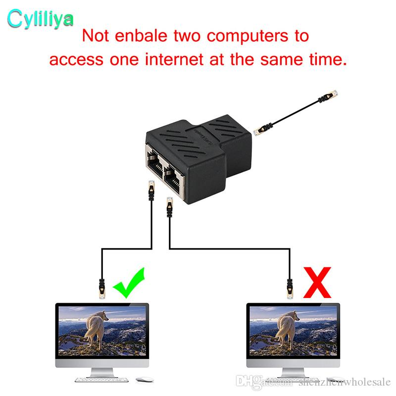 High Quality New 1 To 2 Ways RJ45 LAN Ethernet Network Cable Female Splitter Connector Adapter
