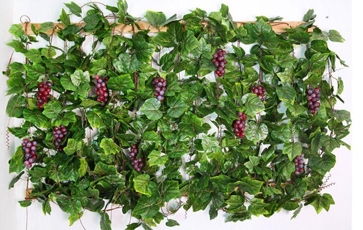 20 PZ come reale artificiale Seta foglia d'uva ghirlanda finto vite Ivy Indoor / outdoor home decor fiore matrimonio regalo di natale verde