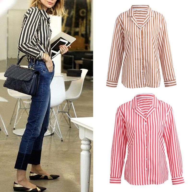 8e1bd1b9c 2019 Fashion Women Striped Shirt Button Front Turn Down Collar Long Sleeve  Loose Shirt Tops Blouse Black/Coffee/Red Chemise Femme From Jamie07, ...